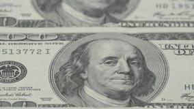 Κινηματογράφηση σε πρώτο πλάνο εκατό λογαριασμών δολαρίων Μακρο φωτογραφία των τραπεζογραμματίων πορτρέτο franklin Benjamin φιλμ μικρού μήκους