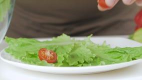 Κινηματογράφηση σε πρώτο πλάνο ενός ανθρώπινου χεριού που βάζει τα μισά των ντοματών κερασιών στα φύλλα μαρουλιού σε ένα πιάτο απόθεμα βίντεο
