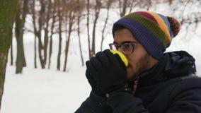 Κινηματογράφηση σε πρώτο πλάνο, ινδικός καυτός καφές ποτών ατόμων στο χειμερινό δάσος απόθεμα βίντεο
