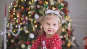 Κινηματογράφηση σε πρώτο πλάνο λίγου χαριτωμένου χαμόγελου κοριτσιών που στέκεται κοντά σε ένα μεγάλο όμορφο χριστουγεννιάτικο δέ απόθεμα βίντεο
