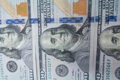 κινηματογράφηση σε πρώτο πλάνο $100 λογαριασμών Πλούτος και έννοια χρηματοδότησης στοκ εικόνα