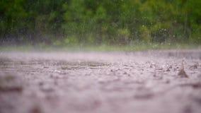Κινηματογράφηση σε πρώτο πλάνο, μεγάλες, βαριές πτώσεις της βροχής, βροχοπτώσεις, ντους, πτώση με έναν ψεκασμό, παφλασμοί νερού,  φιλμ μικρού μήκους