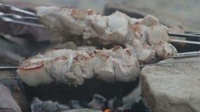 Κινηματογράφηση σε πρώτο πλάνο μερικών οβελιδίων κρέατος που ψήνονται στη σχάρα σε μια σχάρα φιλμ μικρού μήκους