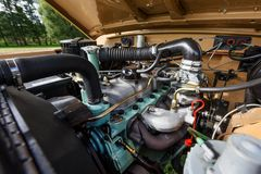 Κινηματογράφηση σε πρώτο πλάνο μιας αυτοκινητικής μηχανής Στοκ εικόνες με δικαίωμα ελεύθερης χρήσης
