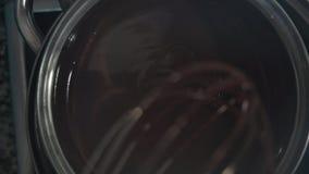 Κινηματογράφηση σε πρώτο πλάνο μιας γυναίκας που ανακατώνει τη λειωμένη σοκολάτα απόθεμα βίντεο