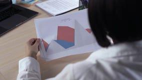 Κινηματογράφηση σε πρώτο πλάνο μιας επιχειρηματία που αναλύει μια ζωηρόχρωμη κυμαινόμενη γραφική παράσταση φραγμών στο γραφείο στ απόθεμα βίντεο