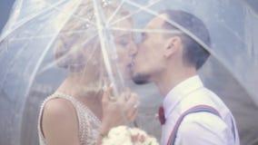 Κινηματογράφηση σε πρώτο πλάνο, νέο όμορφο φιλί newlyweds κάτω από μια διαφανή ομπρέλα E r φιλμ μικρού μήκους