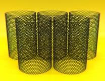 Κινηματογράφηση σε πρώτο πλάνο σε πέντε nanotubes του graphene στο κίτρινο υπόβαθρο ελεύθερη απεικόνιση δικαιώματος