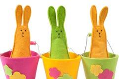 Κινηματογράφηση σε πρώτο πλάνο που καλύπτονται πολύχρωμα bunnies Πάσχας Στοκ Εικόνα
