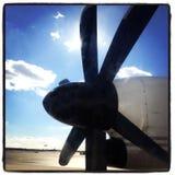 Κινηματογράφηση σε πρώτο πλάνο προωστήρων αεροπλάνων Στοκ εικόνες με δικαίωμα ελεύθερης χρήσης