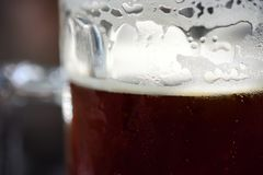 Κινηματογράφηση σε πρώτο πλάνο της αναζωογόνησης της κρύας πίντας της σκοτεινής μπύρας αγγλικής μπύρας με τη συμπύκνωση, το Froth Στοκ εικόνες με δικαίωμα ελεύθερης χρήσης