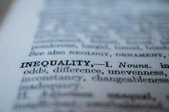 Κινηματογράφηση σε πρώτο πλάνο της ανισότητας λέξης Στοκ φωτογραφία με δικαίωμα ελεύθερης χρήσης