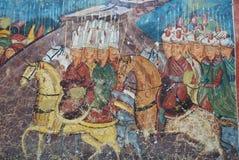 Κινηματογράφηση σε πρώτο πλάνο της νωπογραφίας, monastry Moldovita στοκ φωτογραφία