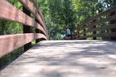 Κινηματογράφηση σε πρώτο πλάνο της ξύλινης πορείας μιας γέφυρας στο πάρκο Στοκ Εικόνα