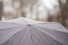 Κινηματογράφηση σε πρώτο πλάνο της σκοτεινής ομπρέλας κατά τη διάρκεια της βροχής Στοκ Φωτογραφία