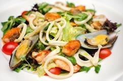 Κινηματογράφηση σε πρώτο πλάνο της φρέσκιας σαλάτας θαλασσινών σε ένα άσπρο πιάτο σε ένα εστιατόριο στοκ εικόνες