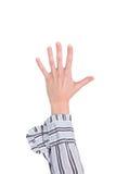 Κινηματογράφηση σε πρώτο πλάνο του βραχίονα - χέρι που κάνει τον αριθμό πέντε το σημάδι. Στοκ φωτογραφία με δικαίωμα ελεύθερης χρήσης