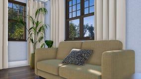 Κινηματογράφηση σε πρώτο πλάνο του καναπέ σύγχρονο εσωτερικό σε τρισδιάστατο καθιστικών απεικόνιση αποθεμάτων