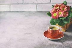 Κινηματογράφηση σε πρώτο πλάνο του καυτών καφέ, του moka-δοχείου και των λουλουδιών Στοκ Εικόνες