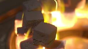 Κινηματογράφηση σε πρώτο πλάνο του καψίματος των κύβων ξυλάνθρακα r Κύβοι των χοβόλεων που καίνε στο κύπελλο για το κάπνισμα hook φιλμ μικρού μήκους