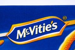 Κινηματογράφηση σε πρώτο πλάνο του λογότυπου McVities Στοκ φωτογραφία με δικαίωμα ελεύθερης χρήσης