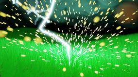 Κινηματογράφηση σε πρώτο πλάνο του μπουλονιού αστραπής που χτυπά έναν χλοώδη τομέα διανυσματική απεικόνιση