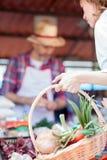 Κινηματογράφηση σε πρώτο πλάνο του χεριού μιας γυναίκας που κρατά ένα σύνολο καλαθιών αγορών των φρέσκων οργανικών λαχανικών στοκ εικόνες