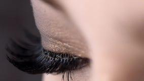 Κινηματογράφηση σε πρώτο πλάνο του όμορφου θηλυκού ματιού με τα πολύ μαύρα μαστίγια r Ακραίο μήκος των eyelashes, έξοχος μαύρος κ φιλμ μικρού μήκους