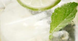 Κινηματογράφηση σε πρώτο πλάνο του coctail Το Mojito, tonik ποτίζει με τους κύβους μεντών και λεμονιών και ασβέστη και πάγου στοκ φωτογραφία