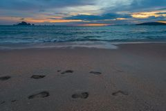 κινηματογράφηση σε πρώτο πλάνο των ιχνών στην άμμο, εικόνα που λαμβάνεται Στοκ φωτογραφίες με δικαίωμα ελεύθερης χρήσης