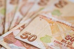 Κινηματογράφηση σε πρώτο πλάνο των τουρκικών τραπεζογραμματίων, λογαριασμοί 50 λιρετών Στοκ εικόνα με δικαίωμα ελεύθερης χρήσης