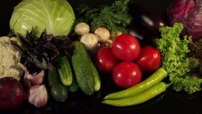 Κινηματογράφηση σε πρώτο πλάνο φρέσκων λαχανικών σε ένα μαύρο υπόβαθρο απόθεμα βίντεο