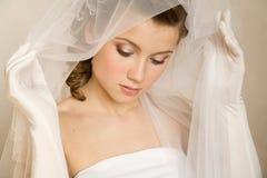 Κινηματογράφηση σε πρώτο πλάνο portret της νύφης στοκ εικόνες