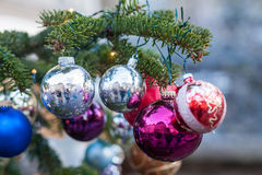 Κινηματογράφηση σε πρώτο πλάνο ένας κλάδος χριστουγεννιάτικων δέντρων με τις διακοσμήσεις σφαιρών Χριστουγέννων Στοκ Εικόνες