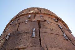 Κινηματογράφηση σε πρώτο πλάνο ένα πύργος Sillustani (με τις ενισχυτικές δομές), LAK Στοκ Εικόνες
