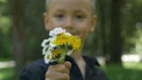 Κινηματογράφηση σε πρώτο πλάνο λίγου παιδιού που κρατά και που δίνει μια ανθοδέσμη των λουλουδιών και που προσφέρει τους απόθεμα βίντεο