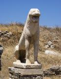Κινηματογράφηση σε πρώτο πλάνο ενός λιονταριού, πεζούλι των λιονταριών σε Delos στοκ εικόνες με δικαίωμα ελεύθερης χρήσης