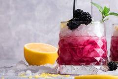 Κινηματογράφηση σε πρώτο πλάνο ενός κρύου ποτού μούρων Ποτό με τον κλαδίσκο μεντών, το ξινά λεμόνι και τα βατόμουρα σε ένα γκρίζο Στοκ εικόνες με δικαίωμα ελεύθερης χρήσης