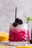 Κινηματογράφηση σε πρώτο πλάνο ενός κρύου ποτού μούρων Ποτό με τον κλαδίσκο μεντών, το ξινά λεμόνι και τα βατόμουρα σε ένα γκρίζο Στοκ Φωτογραφία