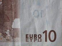 Κινηματογράφηση σε πρώτο πλάνο ενός χρησιμοποιημένου ευρο- λογαριασμού χρημάτων εγγράφου 10 Στοκ Φωτογραφίες