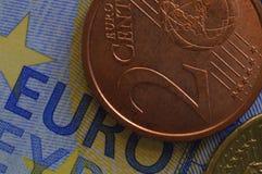 Κινηματογράφηση σε πρώτο πλάνο ευρώ στοκ φωτογραφίες