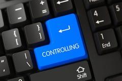Κινηματογράφηση σε πρώτο πλάνο ελέγχου του μπλε κουμπιού πληκτρολογίων τρισδιάστατος Στοκ Φωτογραφία