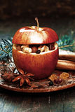 Κινηματογράφηση σε πρώτο πλάνο η κόκκινη Apple με τα καρυκεύματα και το γλυκάνισο Στοκ Εικόνες
