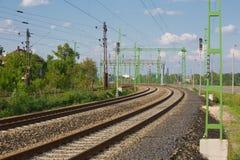 Κινηματογράφηση σε πρώτο πλάνο διαδρομών σιδηροδρόμων Στοκ εικόνες με δικαίωμα ελεύθερης χρήσης