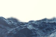 Κινηματογράφηση σε πρώτο πλάνο κυμάτων θάλασσας, χαμηλή άποψη γωνίας με τα αποτελέσματα bokeh τρισδιάστατη απόδοση Στοκ Φωτογραφία