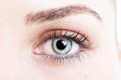Κινηματογράφηση σε πρώτο πλάνο με το πράσινο μάτι του προτύπου γυναικών Στοκ Εικόνες