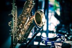 Κινηματογράφηση σε πρώτο πλάνο οργάνων Saxophone Στοκ φωτογραφίες με δικαίωμα ελεύθερης χρήσης