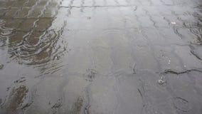 Κινηματογράφηση σε πρώτο πλάνο που πυροβολείται της δυνατής βροχής στο δρόμο φιλμ μικρού μήκους