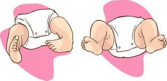 Κινηματογράφηση σε πρώτο πλάνο ποδιών λεσχών ενός νεογέννητου διανυσματική απεικόνιση