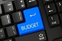 Κινηματογράφηση σε πρώτο πλάνο προϋπολογισμών του μπλε κουμπιού πληκτρολογίων τρισδιάστατος Στοκ Εικόνα
